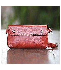 leather waist bag, 'simple russet' (indonesia)