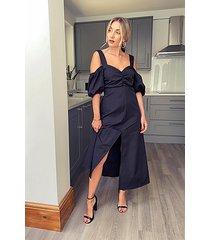 black taffeta bardot midi dress - black