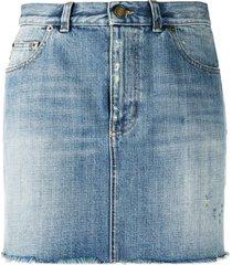 classic blue denim skirt