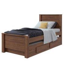 cama de solteiro bibox athenas imbuia naturale móveis lopas marrom