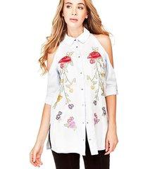 długa dżinsowa koszula w kwiaty