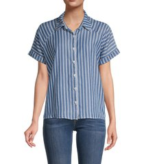 oat new york women's oversized striped shirt - light stripe - size l