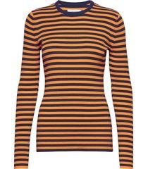 tech rib c-nk swtr l t-shirts & tops long-sleeved oranje calvin klein