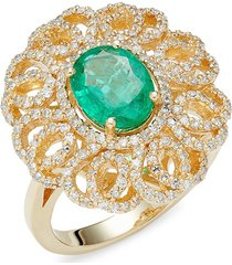 effy women's 14k yellow gold, emerald & diamond cocktail ring - size 7