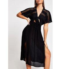river island womens black kimono midi beach dress