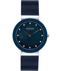bering women's ceramic crystal blue stainless steel mesh bracelet watch 35mm