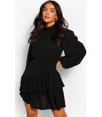 skater jurk met blouson mouw en hoge geplooide hals, black