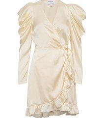 ruffled wrap-front mini dress knälång klänning creme designers, remix