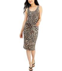 bar iii cheetah-print sleeveless bodycon midi dress, created for macy's