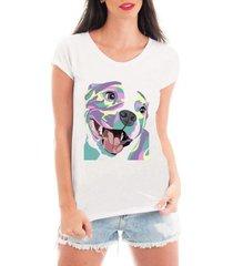 camiseta bata criativa urbana pitbull dog cachorro colorido - feminino