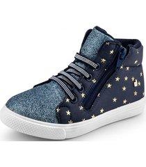 zapatillas agility mini estrellas y glitter azul bibi