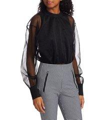 rag & bone women's caley sheer sweatshirt - black - size xxs