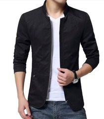 chaqueta hombres casual slim fit algodon wt002 negro