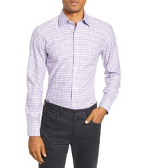 men's bonobos slim fit plaid dress shirt, size 17.5 - pink
