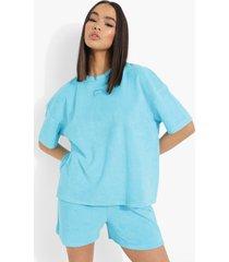 ofcl oversized badstoffen t-shirt met geweven label, blue
