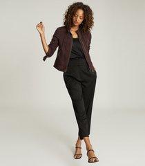 reiss dawn - suede jacket in bordeaux, womens, size 10