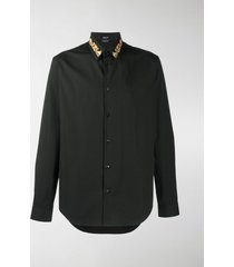 versace baroque embroidered-collar shirt