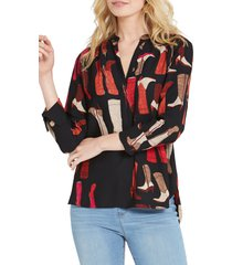 petite women's nic+zoe these boots print top, size small p - black