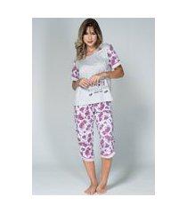 pijama feminino serra e mar modas manga curta pescador cinza