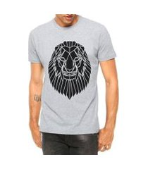 camiseta criativa urbana leão tatoo tribal manga curta