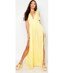 cheesecloth plunge maxi dress, yellow