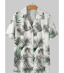 yoins blusa de manga corta tropical con cuello de solapa blanca