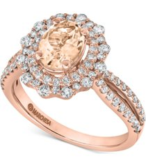 gemstone bridal by marchesa morganite (1/2 ct. t.w.) & diamond (7/8 ct. t.w.) engagement ring in 14k rose & yellow gold