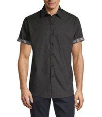 robert graham men's equinox tone-on-tone short-sleeve shirt - black - size l