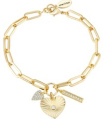 gold flash-plated crystal heart link bracelet