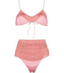 oséree charleston fringe detail bikini - pink