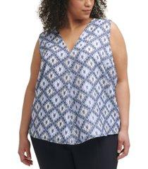 calvin klein trendy plus size printed v-neck top