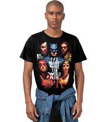 camiseta liga da justiça dc comics poster bandup! masculina