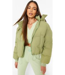 oversized gewatteerde jas met capuchon, olive