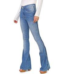 calça jeans my favorite thing(s) flare estonada azul - kanui