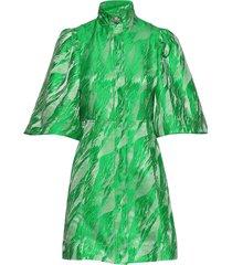 jacquard korte jurk groen ganni