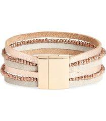 women's panacea multistrand crystal & leather bracelet