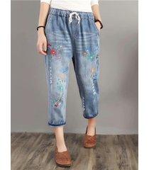 pantaloni di jeans larghi in vita elastica con ricamo fiori