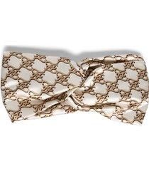 duchesse logo print headband light cream