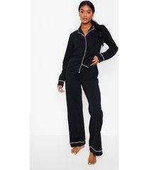 jersey pyjama set met lange mouwen en knopen, black