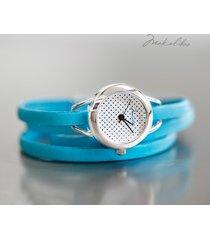 prezent - zegarek - dots - turkusowy