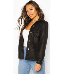 petite wool look oversize shirt jacket, black