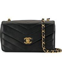 chanel pre-owned 1995's v stitch cc single chain shoulder bag - black