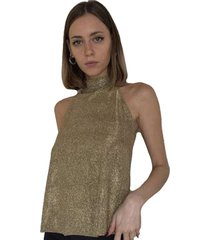 blusa cuello halter dorado by brasil soo glam