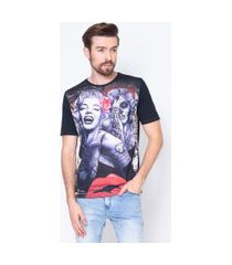 camiseta masculina marilyn monroe rock emporio alex malha estampado