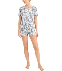 alfani crew top & shorts pajama set, created for macy's