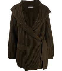 issey miyake pre-owned 1980s shawl collar ribbed cardigan - green