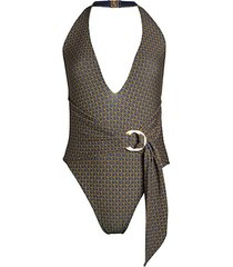 chain-print deep-v one-piece swimsuit