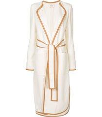 khaite iman contrast top-stitched coat - white