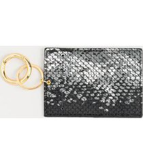 delisa snake print card case - black/white
