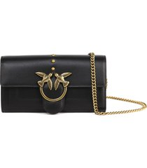 pinko love simply black leather wallet